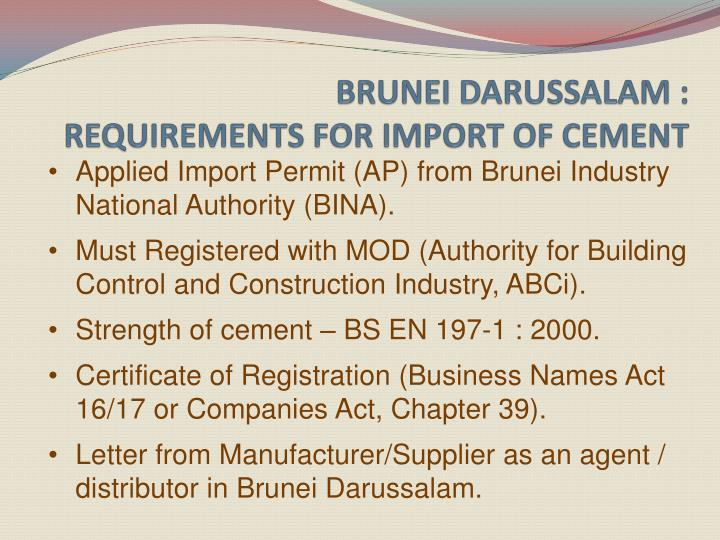 Brunei darussalam requirements for import of cement
