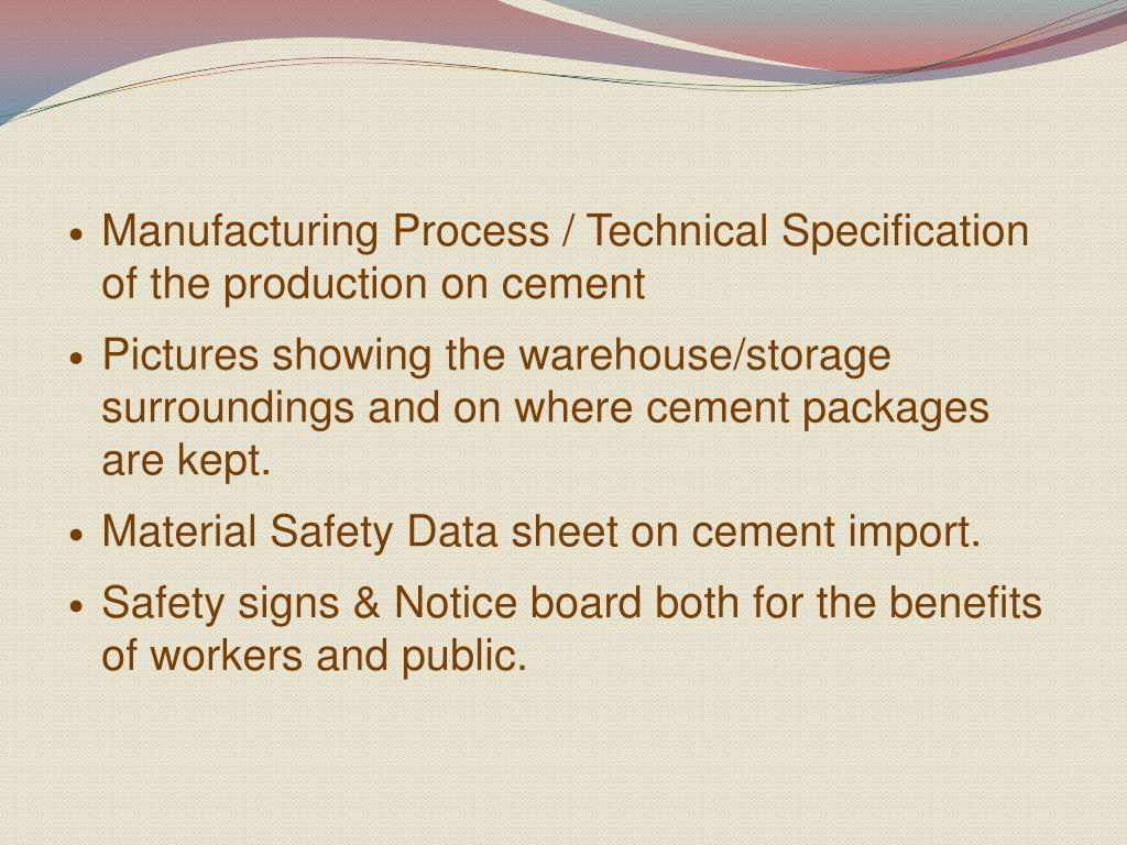 Manufacturing Process / Technical Specification of the production on cement