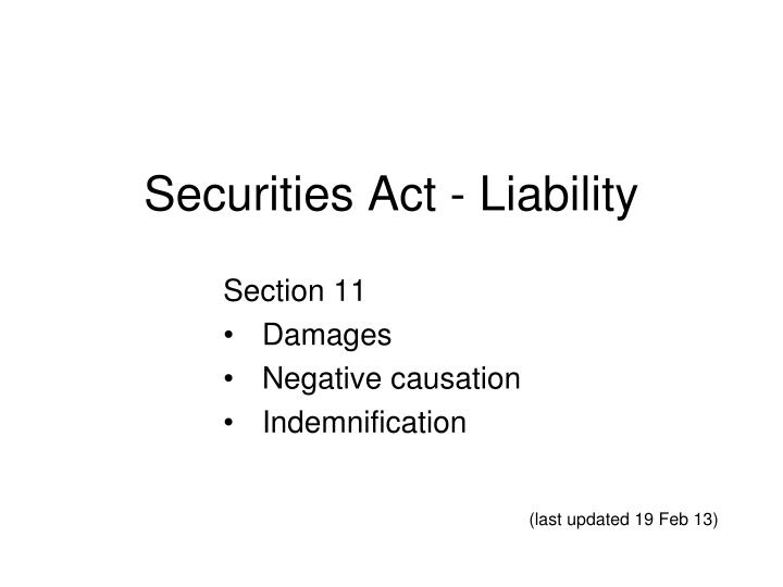 securities act liability n.