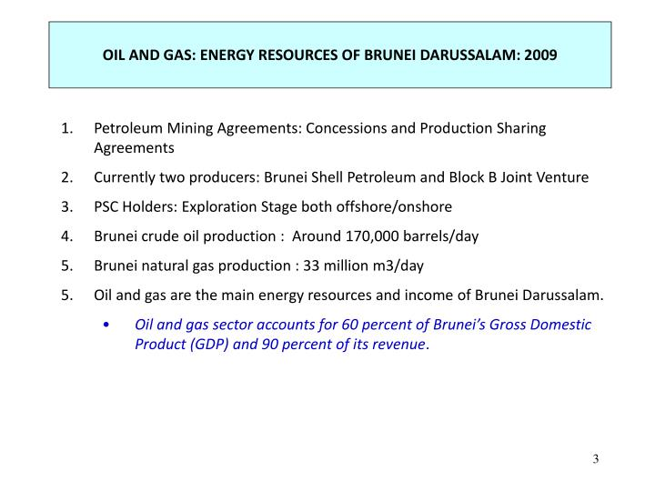 OIL AND GAS: ENERGY RESOURCES OF BRUNEI DARUSSALAM: 2009