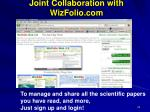 joint collaboration with wizfolio com for bibliographic sharing and management