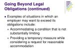 going beyond legal obligations continued