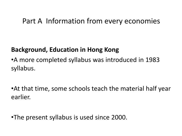 Part a information from every economies
