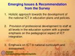 emerging issues recommendation from the survey