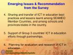 emerging issues recommendation from the survey25