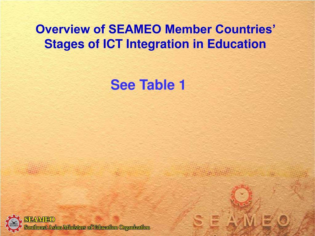 Overview of SEAMEO Member Countries' Stages of ICT Integration in Education