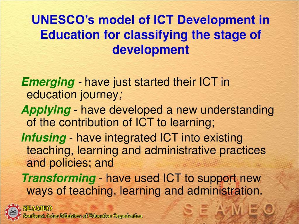 UNESCO's model of ICT Development in Education