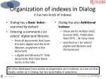 organization of indexes in dialog it has two kinds of indexes