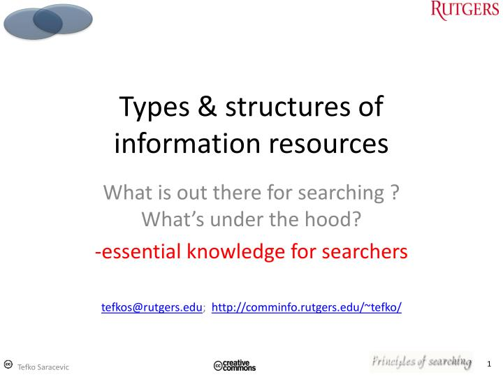 types structures of information resources n.