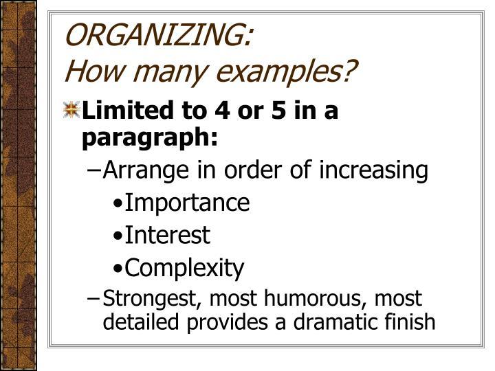 ORGANIZING: