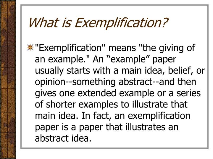 What is Exemplification?