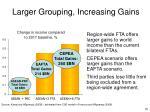larger grouping increasing gains