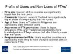 profile of users and non users of ftas