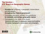 the solution u s board on geographic names