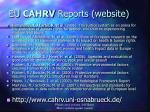 eu cahrv reports website