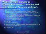 walby myhill drawing on international research summarised risk factors of domestic violence