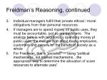 freidman s reasoning continued