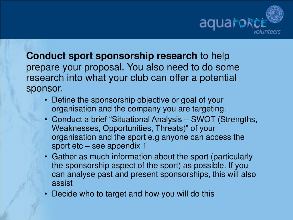 Conduct sport sponsorship research