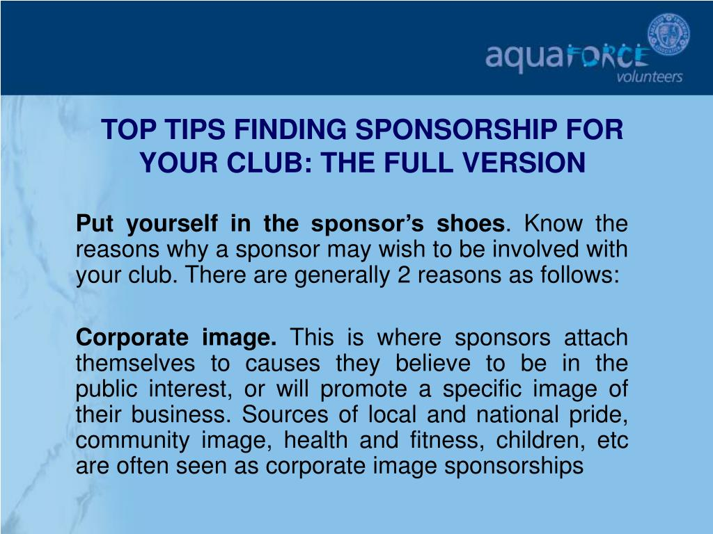 TOP TIPS FINDING SPONSORSHIP FOR YOUR CLUB: THE FULL VERSION