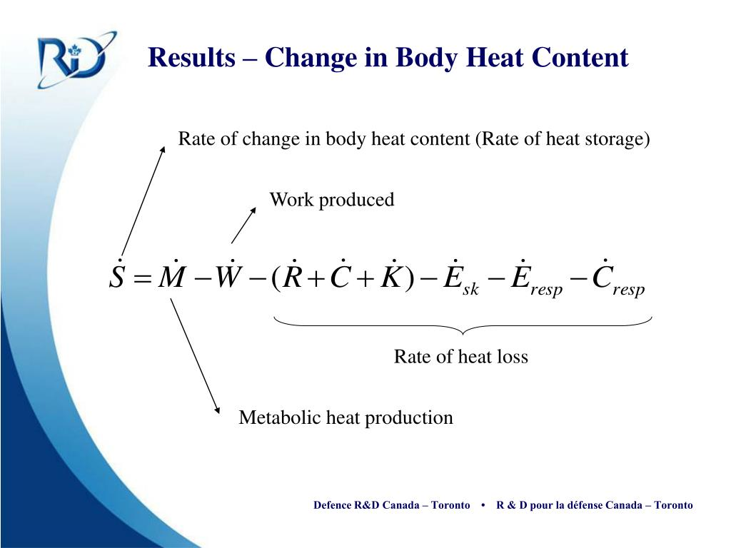Rate of change in body heat content (Rate of heat storage)