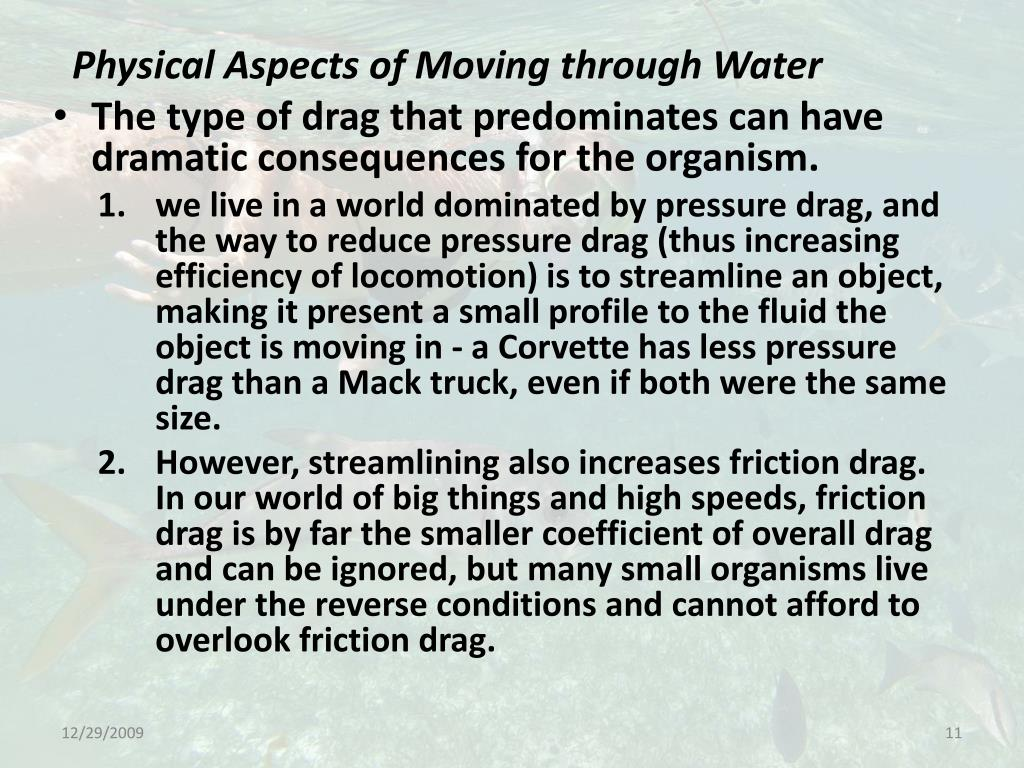 Physical Aspects of Moving through Water