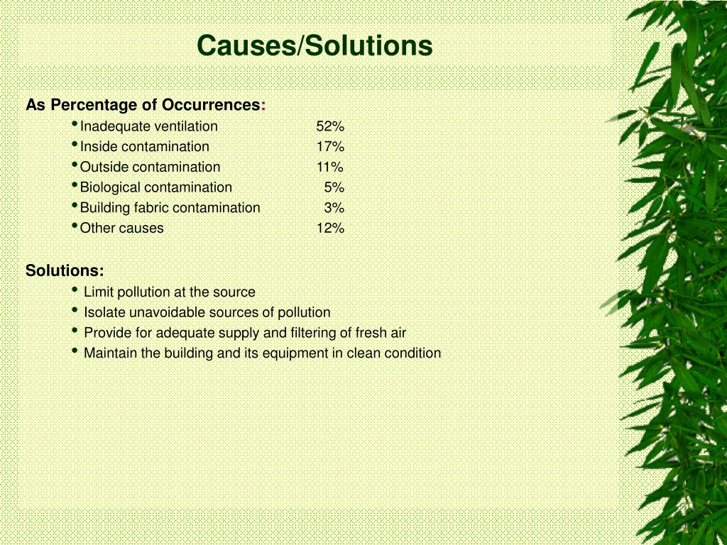 Causes/Solutions