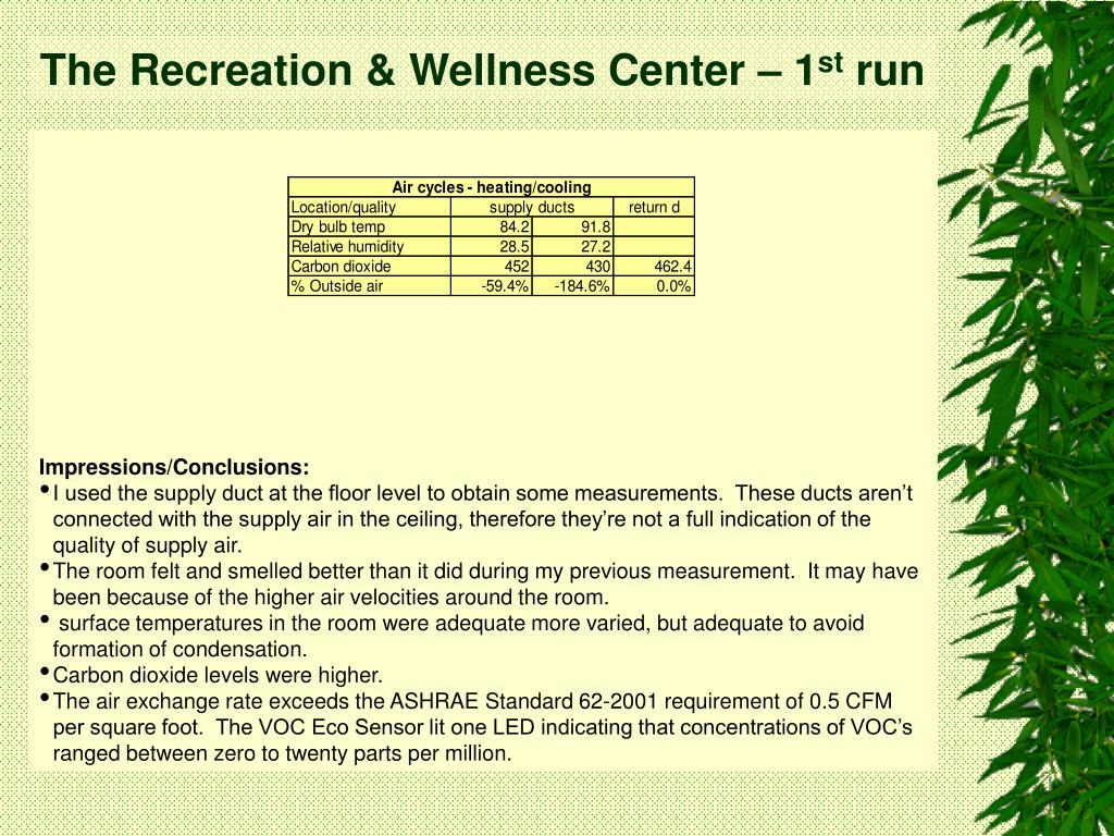 The Recreation & Wellness Center – 1