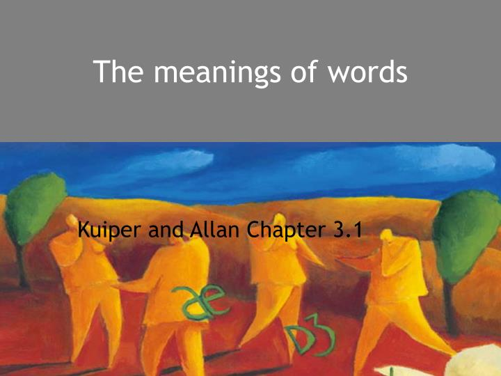 the meanings of words n.