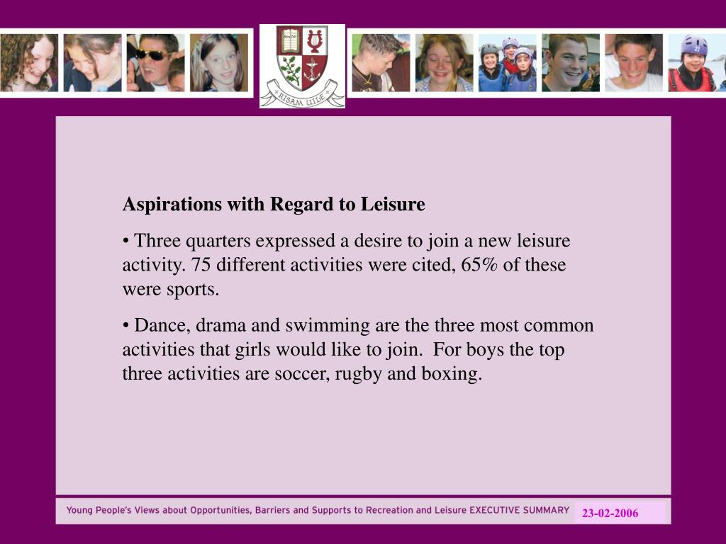 Aspirations with Regard to Leisure