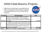 nasa failed missions projects
