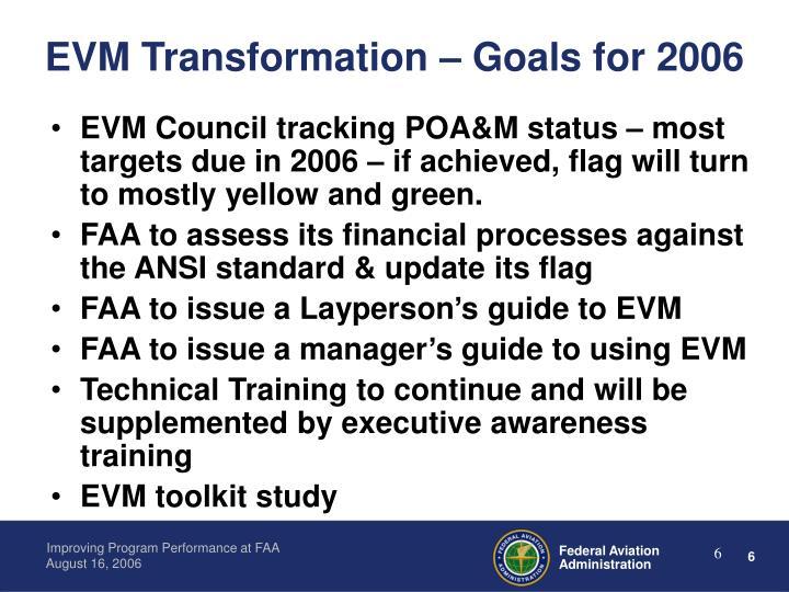 EVM Transformation – Goals for 2006