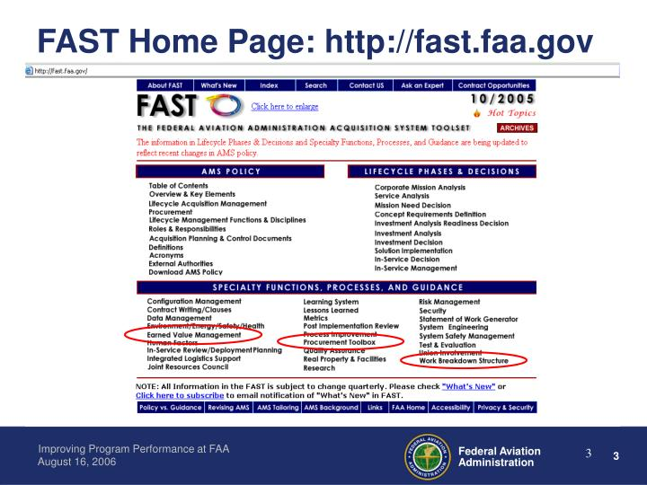 Fast home page http fast faa gov