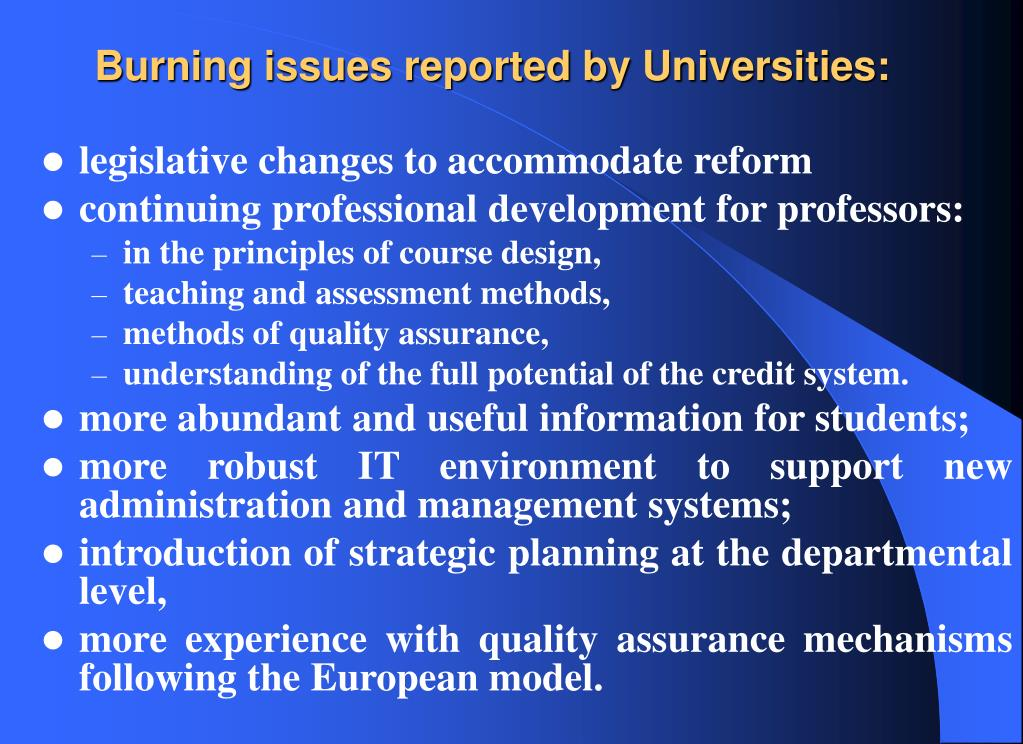 Burning issues reported by Universities: