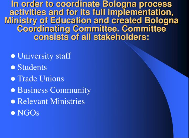 In order to coordinate Bologna process activities and for its full implementation, Ministry of Educa...