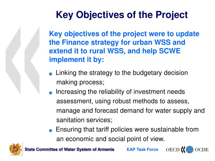 Key objectives of the project