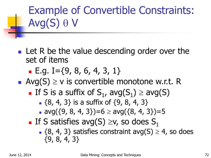 Example of Convertible Constraints: Avg(S)