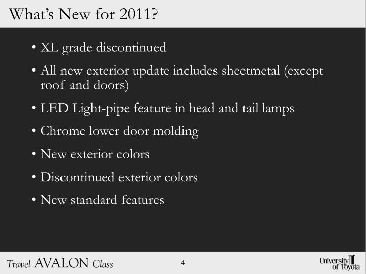 What's New for 2011?