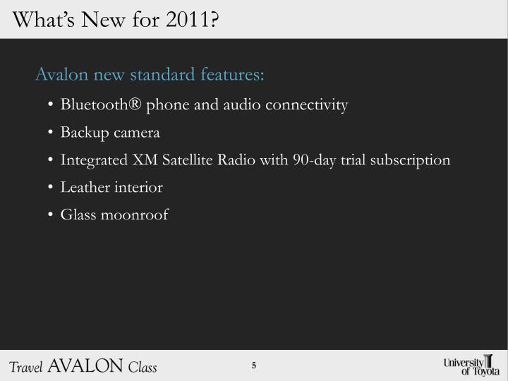 Avalon new standard features: