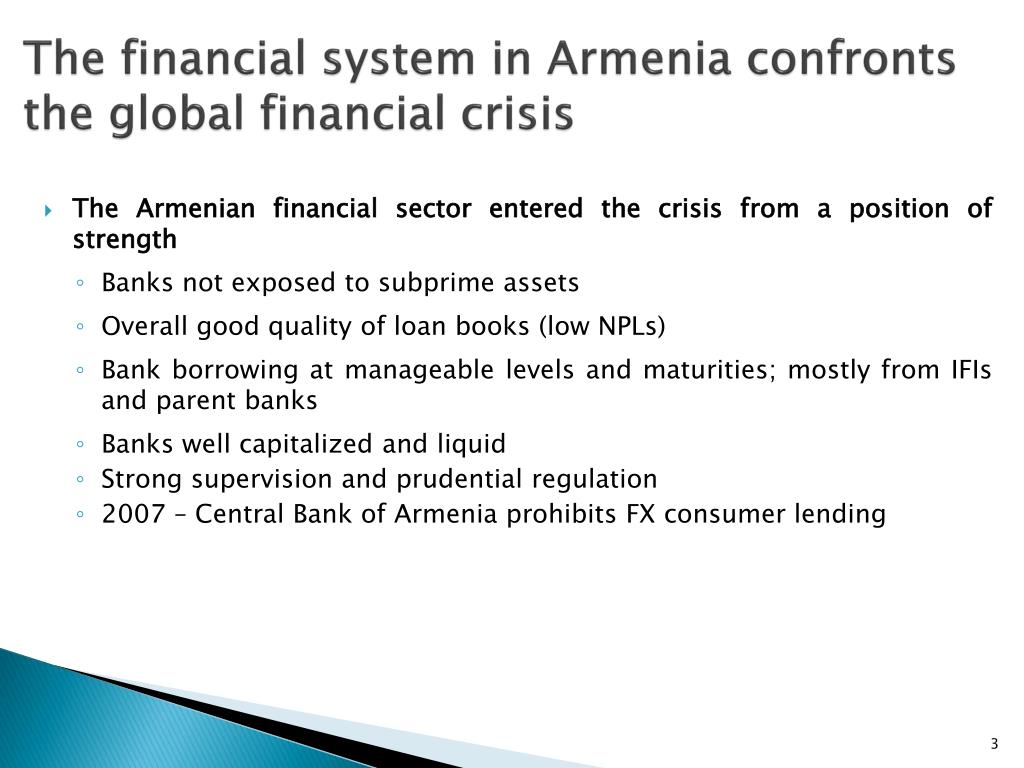 The financial system in Armenia confronts the global financial crisis
