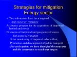 strategies for mitigation energy sector