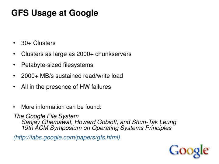 GFS Usage at Google