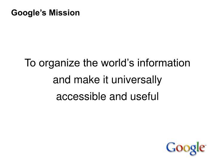 Google s mission