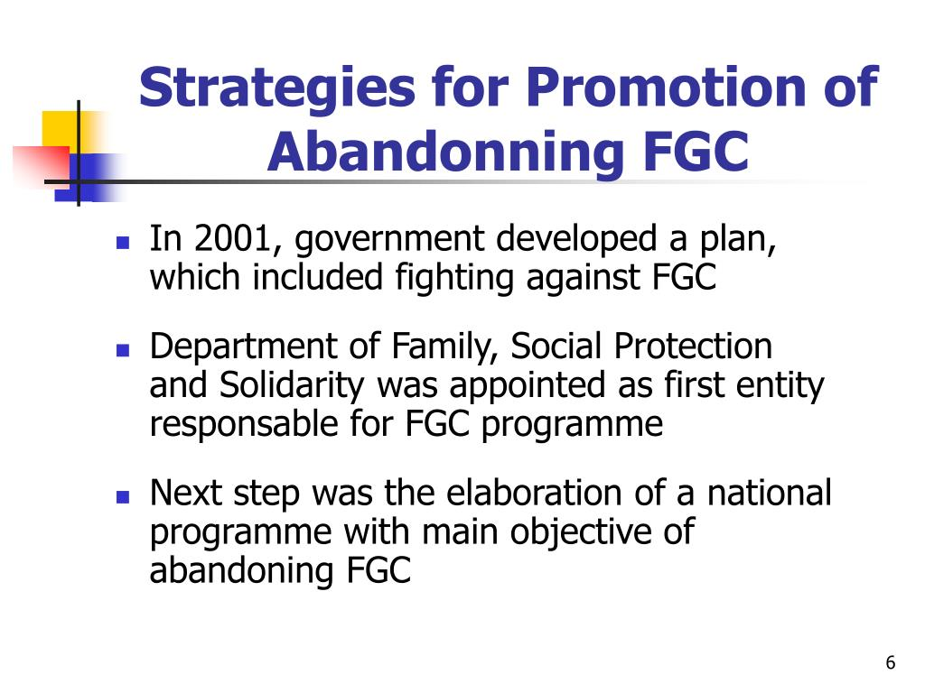 Strategies for Promotion of Abandonning FGC