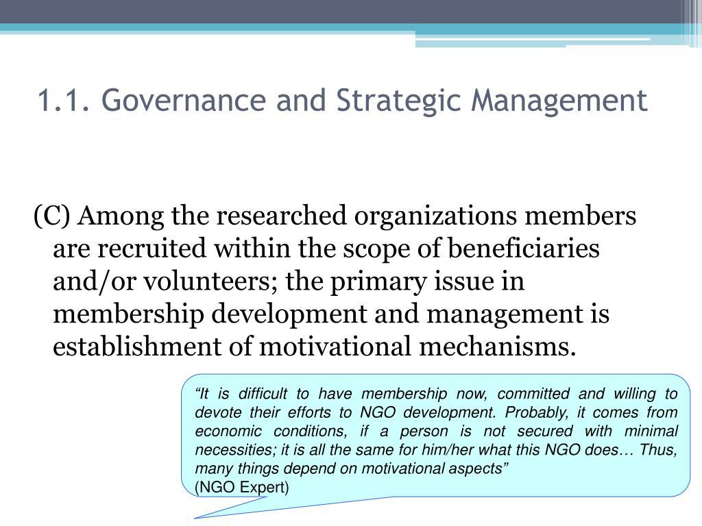 1.1. Governance and Strategic Management