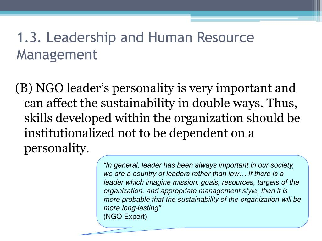 1.3. Leadership and Human Resource Management