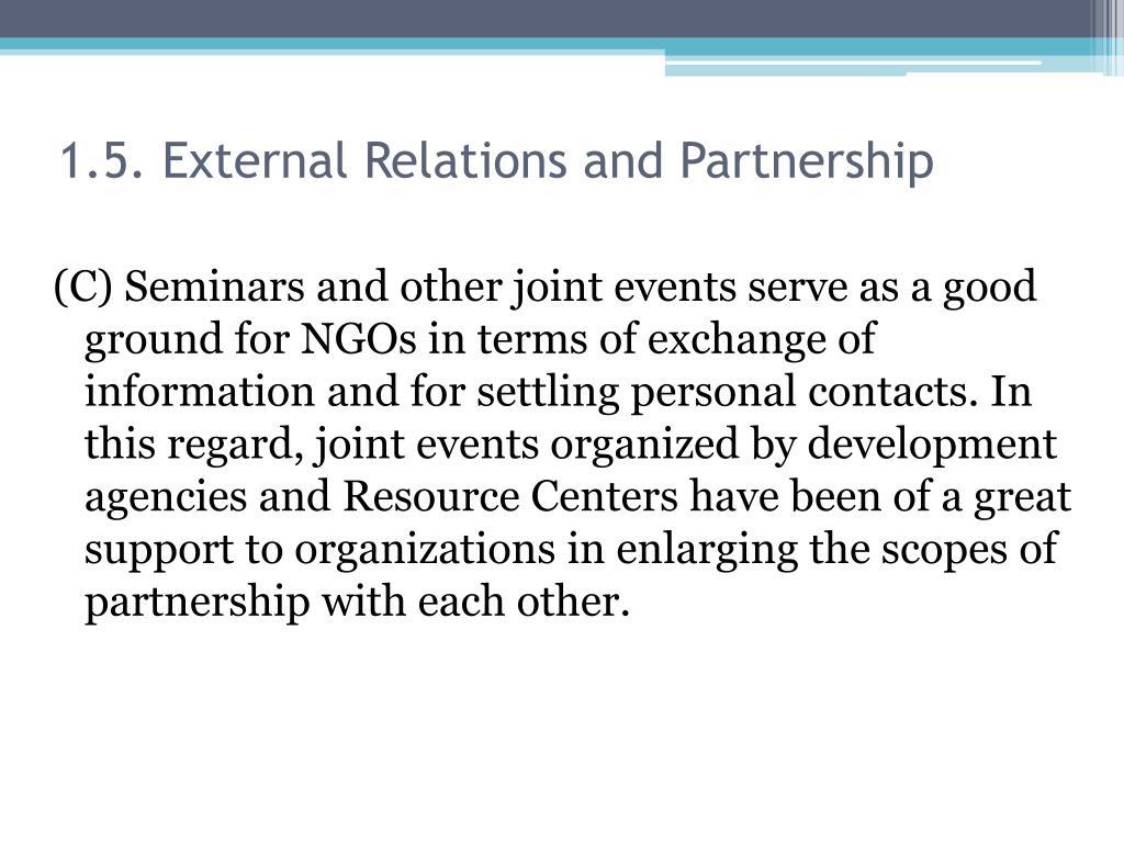1.5. External Relations and Partnership