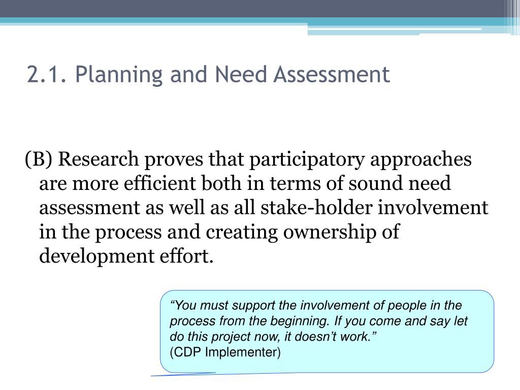 2.1. Planning and Need Assessment