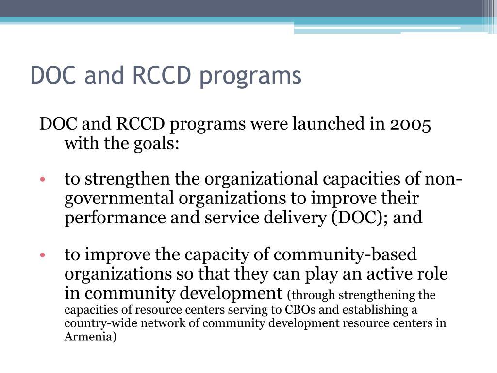 DOC and RCCD programs
