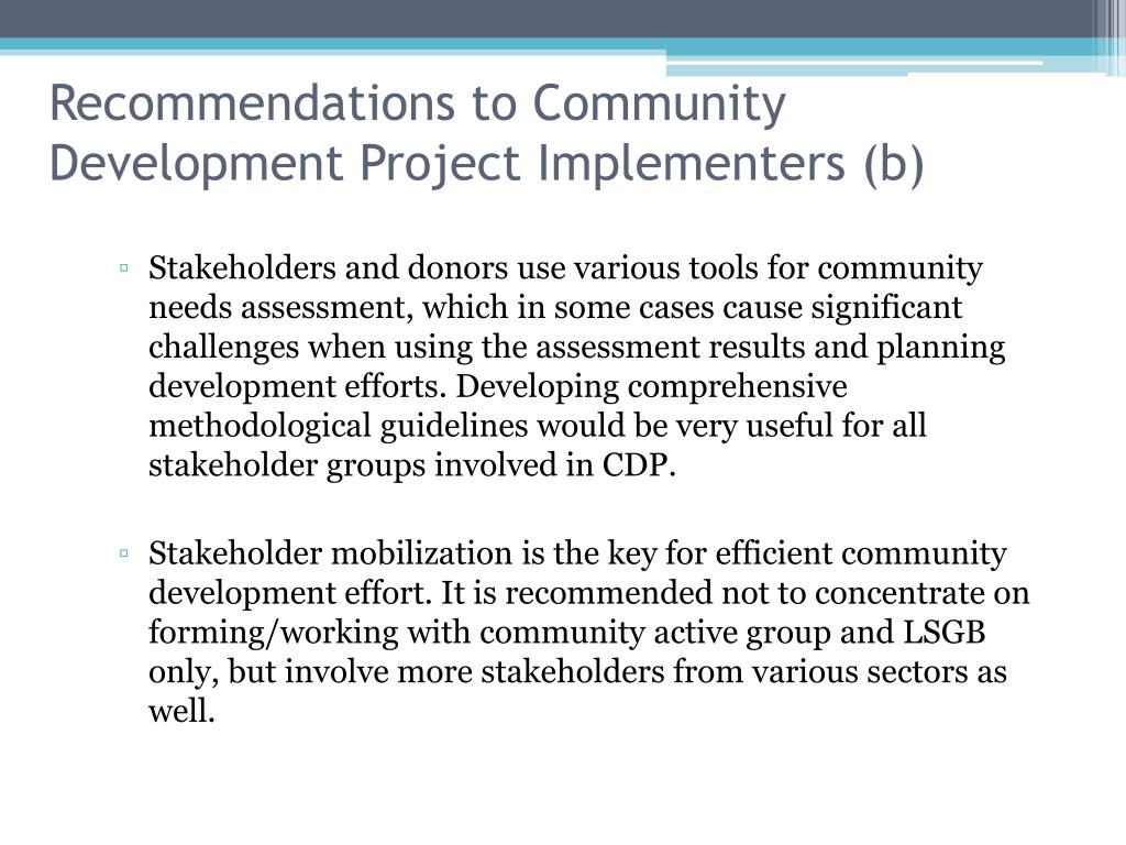 Recommendations to Community Development Project Implementers (b)