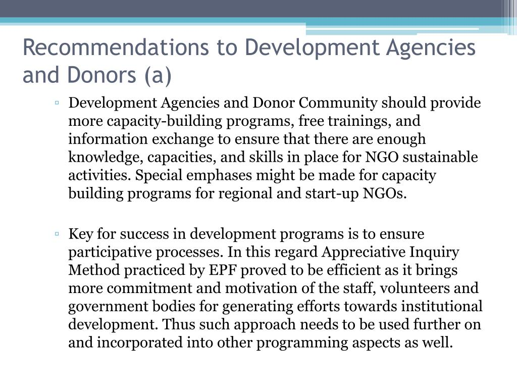 Recommendations to Development Agencies and Donors (a)
